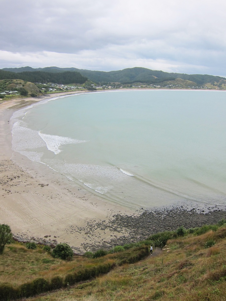 Looking back at Whangapoua Beach on the Coromandel Peninsula on our way to see the Maori Pa at Motuto Point.