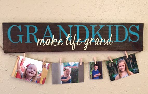 Grandkids MAKE LIFE GRAND hand painted sign - photo display grandchildren sign gifts for grandparents