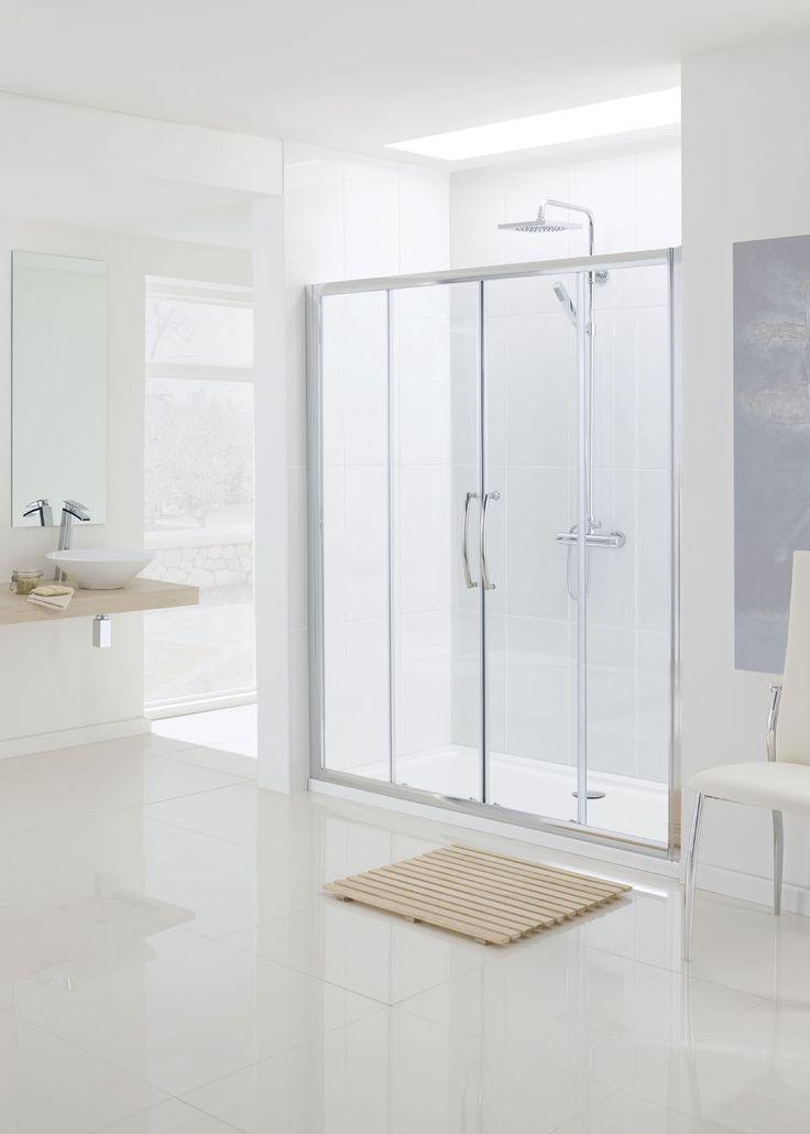 Semi-Frameless Double Slider Shower Door Encl › Lakes Bathrooms