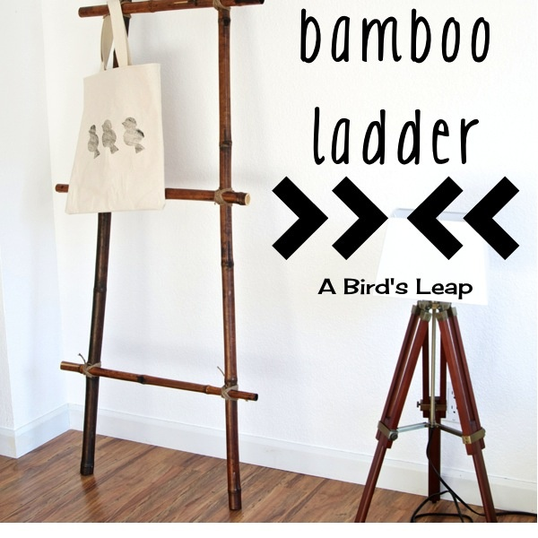 DIY Bamboo Ladder. Would be good for storing blankets in the living room.