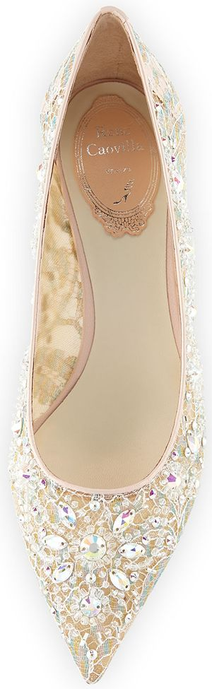 Rene Caovilla Crystal-Embellished Lace Low-Heel Pump, Lilac/Multi | LOLO❤︎