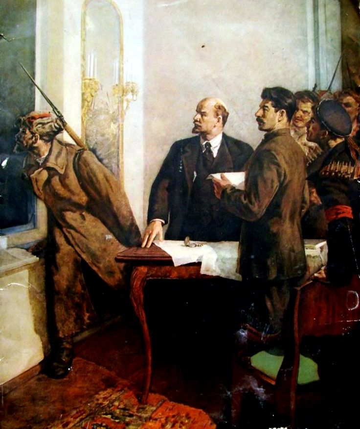 Lenin and Stalin planning for the October Revolution