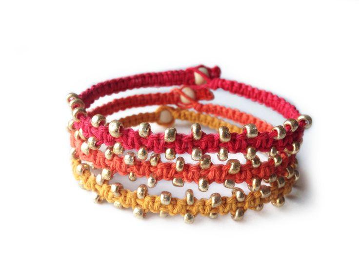 FIREBALL: Red, Orange and Yellow Hemp Cord with Tiny Seed Beads