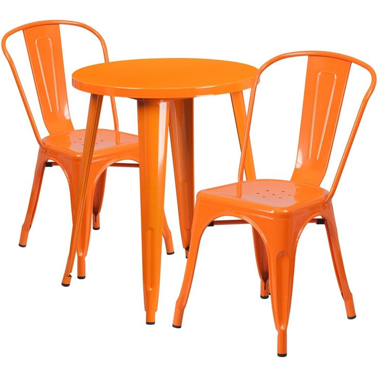 iHome Brimmes Round 24'' Orange Metal Indoor-Outdoor Table Set w/2 Cafe Chairs for Restaurant/Bar/Pub/Patio, Size 3-Piece Sets, Patio Furniture