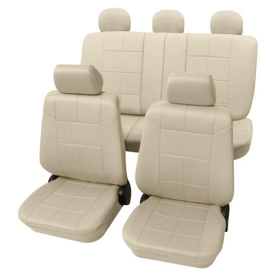 Beige Car Seat Covers With A Classy Leather Look
