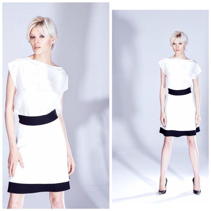 Biało-czarna warstowa spodnica i jedwabny top ecru z kolekcji AW 2014/15 THECADESS