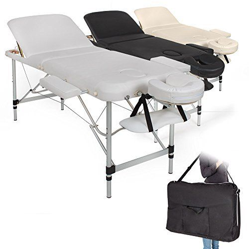 TecTake Table de Massage Pliante Aluminium Cosmetique Lit de Massage Portable + Housse de Transport – diverses couleurs au choix –:…