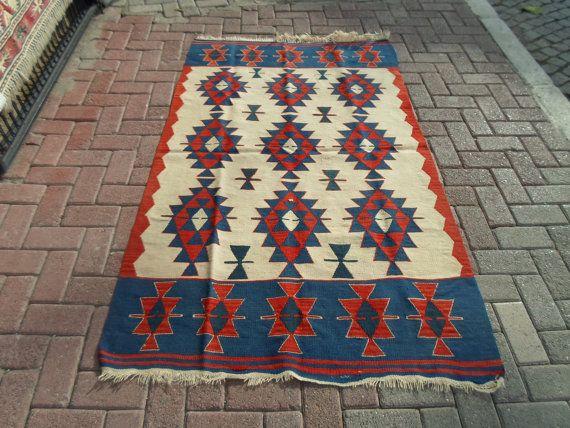 Vintage Anatolian Uşak region  handwowen wool on by ArasCarpet