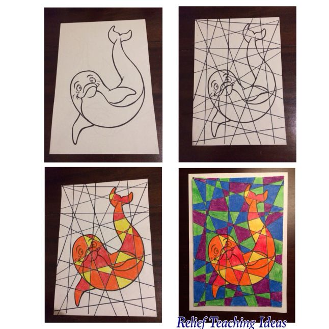 Fractured pictures - works well with simple outlines of animals, people, countries, fruit, ..