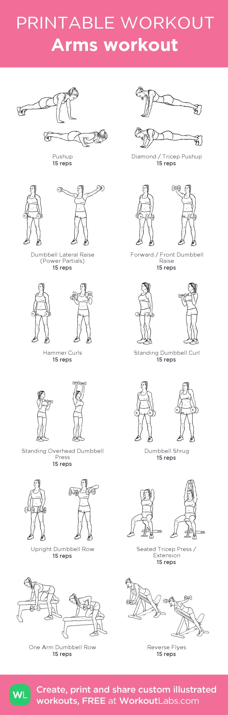 Arms workout: my custom printable workout by @WorkoutLabs #workoutlabs #customworkout