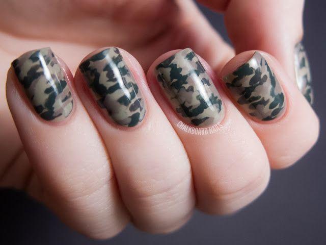 Camouflage Nails with the LCN Urban Expression Box Set | Chalkboard Nails | Nail Art Blog