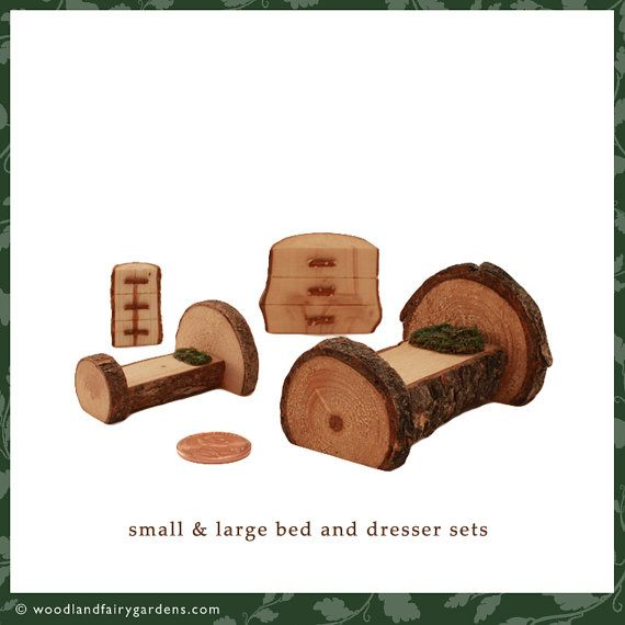 2-piece Small or Large fairy garden bed and dresser set with moss pillow. Use in fairy, miniature, or container gardens & playing outdoors.