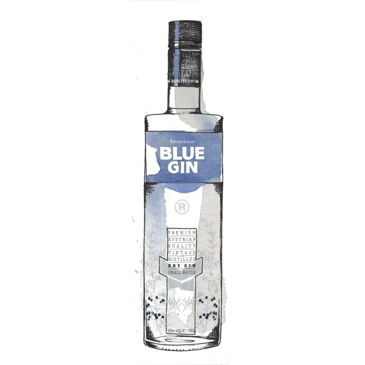 Blue Gin Bottle Watercolour Illustration. Click the 'visit' link to commission your own choice of gin illustrations