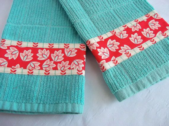 Turquoise Tea Towels, Hand Decorated Kitchen Towels, Set Of Two Cotton  Turquoise And Red Kitchen Towels, Lovely Aqua Dish Cloths