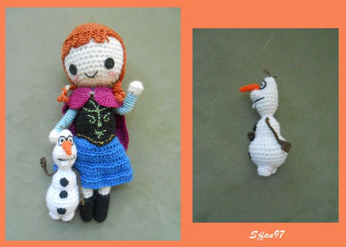 Olaf from Frozen ( 4inches tall) - Free Amigurumi Crochet Pattern here: http://sjfan97.deviantart.com/journal/Olaf-Crochet-Pattern-475518832