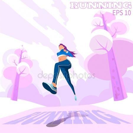 Скачать - Рабочая женщина открытый. Бег трусцой девушки. в парке — стоковая иллюстрация #132444550