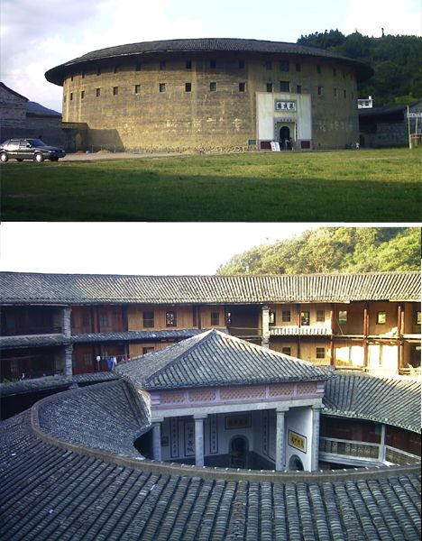 Hakka Houses of China. These round rammed earth buildings were designed for defensive purposes, with only one entrance and no windows at ground level. The largest Hakka houses covered up to 40,000 meters and most of the ones still standing today cover around 10,000 meters.