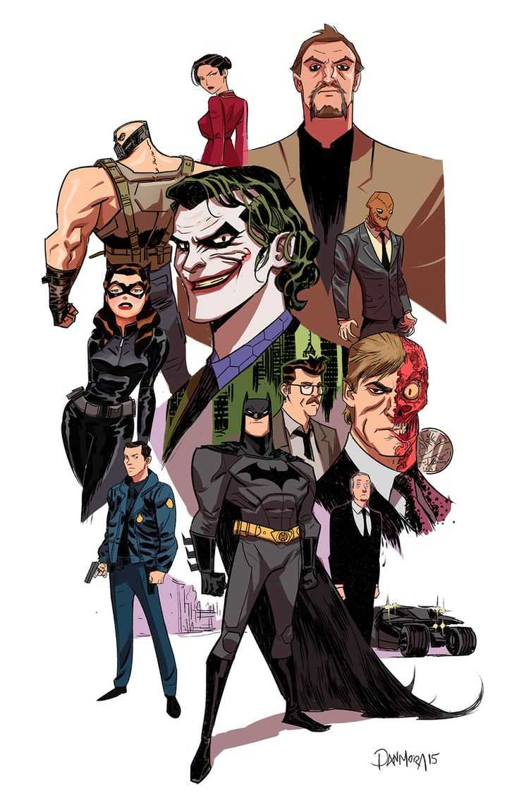 Batman the Dark Knight Trilogy by Dan Mora in the style of Bruce Timm