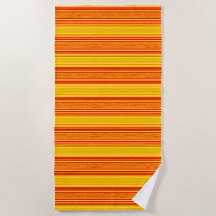 Stripes Orange Yellow Modern Beach Towel - home gifts ideas decor special unique custom individual customized individualized