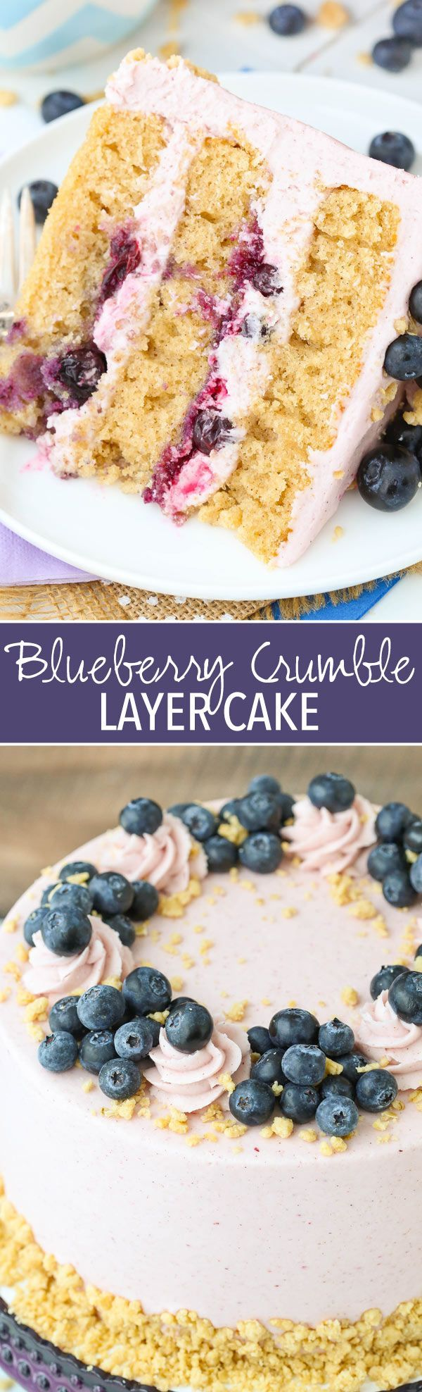 Blueberry Crumble Layer Cake - layers of cinnamon brown sugar cake, blueberry filling and frosting, and a little crumble! Like a pie in cake form!