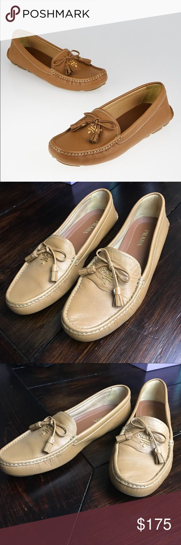 Prada Tan Saffiano Leather Tassel Driving Loafers These sophisticated and classic Prada Tan Saffiano Leather Tassel Driving Loafers are a great addition to any wardrobe! These elegant Saffiano leather loafers are a moccasin construction that are accessorized with a raised silvertone Prada logo and bow at the vamp with tassels. Rubber soles for a comfortable fit and a touch of class. Prada Shoes Flats & Loafers