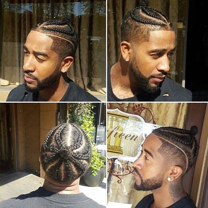 I don't even know what to call this but  I like it though #omarion #fade #cornrows #manbun #blackmenhairstyle #menhairstyles #coolhairstyles #menhaircuts #blackmenhaircuts