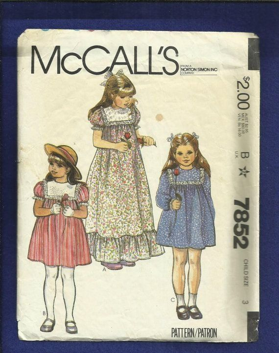 Vintage Pattern from 1982 Patterns and instructions to make girls ...