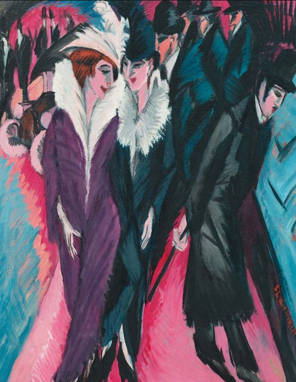 Ernst Ludwig Kirchner, 1913, Rue à Berlin, oil on board, MOMA, New York.