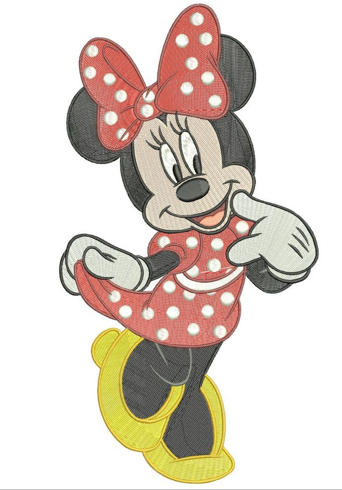 Machine embroidery designs minnie mouse in a red polka