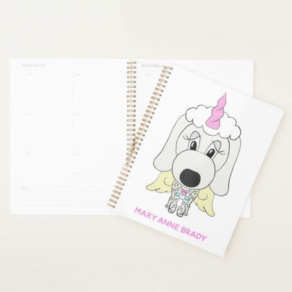 #White Unicorn Poodle Dog Personalized Planner - #office #gifts #giftideas #business