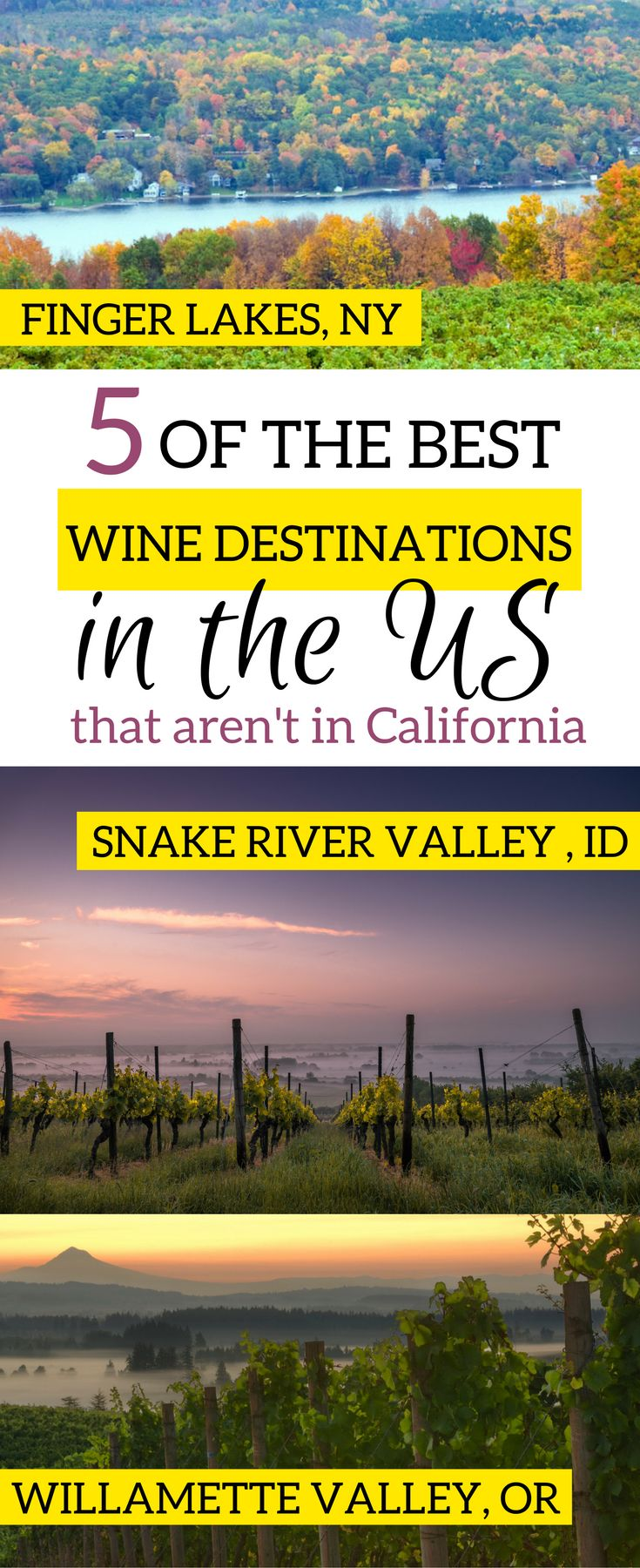 Napa Valley might be the most famous, but it's not the only one. Discover 5 of the best wine regions in the US, which include Finger Lakes, Snake River Valley, and more. Discover the best wineries and 5 incredible wine trails that are absolutely worth a weekend away. | Wine destinations in the United States | #winetour #winedestinations - via @elainschoch