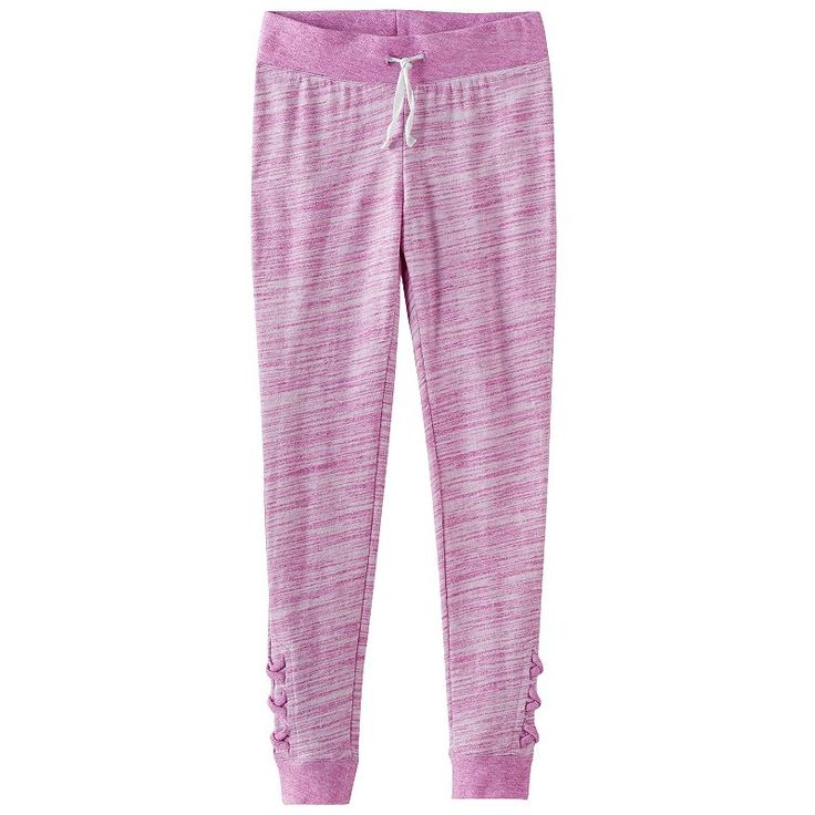 Girls 7-16 & Plus Size SO® Space-Dyed Lattice Hem Jogger Pants, Size: 14 1/2, Brt Purple