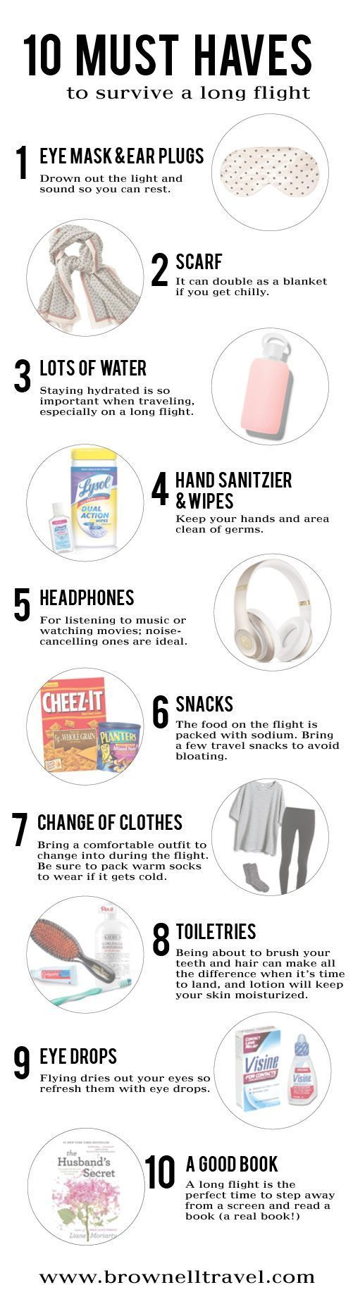 Headed on a long flight? Don't leave without these 10 must haves! http://www.brownelltravel.com/must-haves-for-a-long-flight/