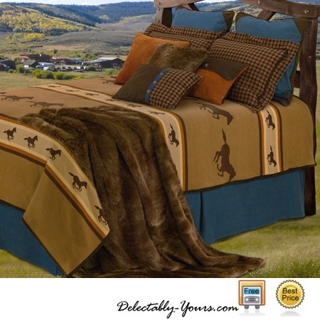 Ocala Bedding Features A Cotton Tan Woven Coverlet With Galloping Horses  And Faux Leather Trim Adding