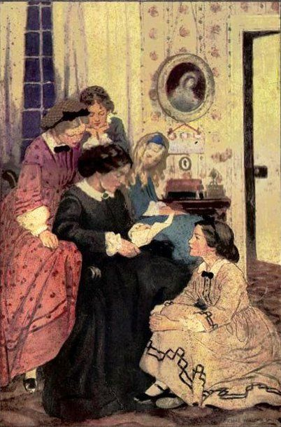 Little Women art byJesse Wilcox Smith. Sharing Little Women with my daughters is one of my fondest memories as a mother. To have seen their eyes light up as I'm sure mine once did, still brings joy to my heart to this day.