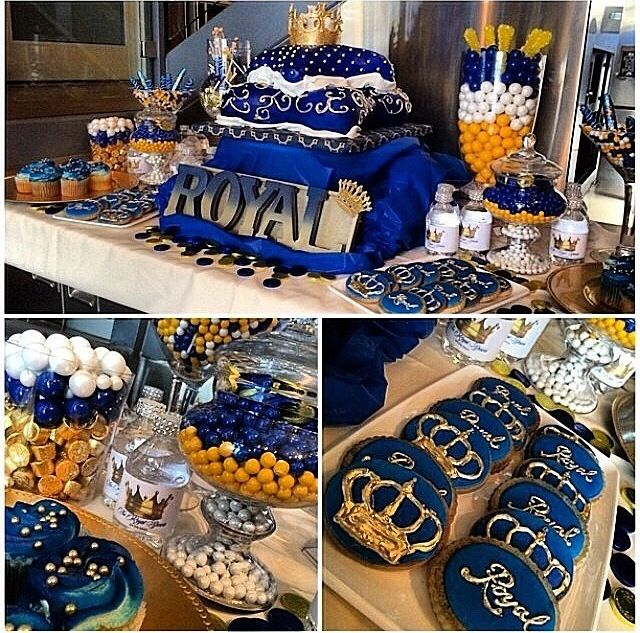 Blue gold royal baby shower candy buffet crown pillow cake