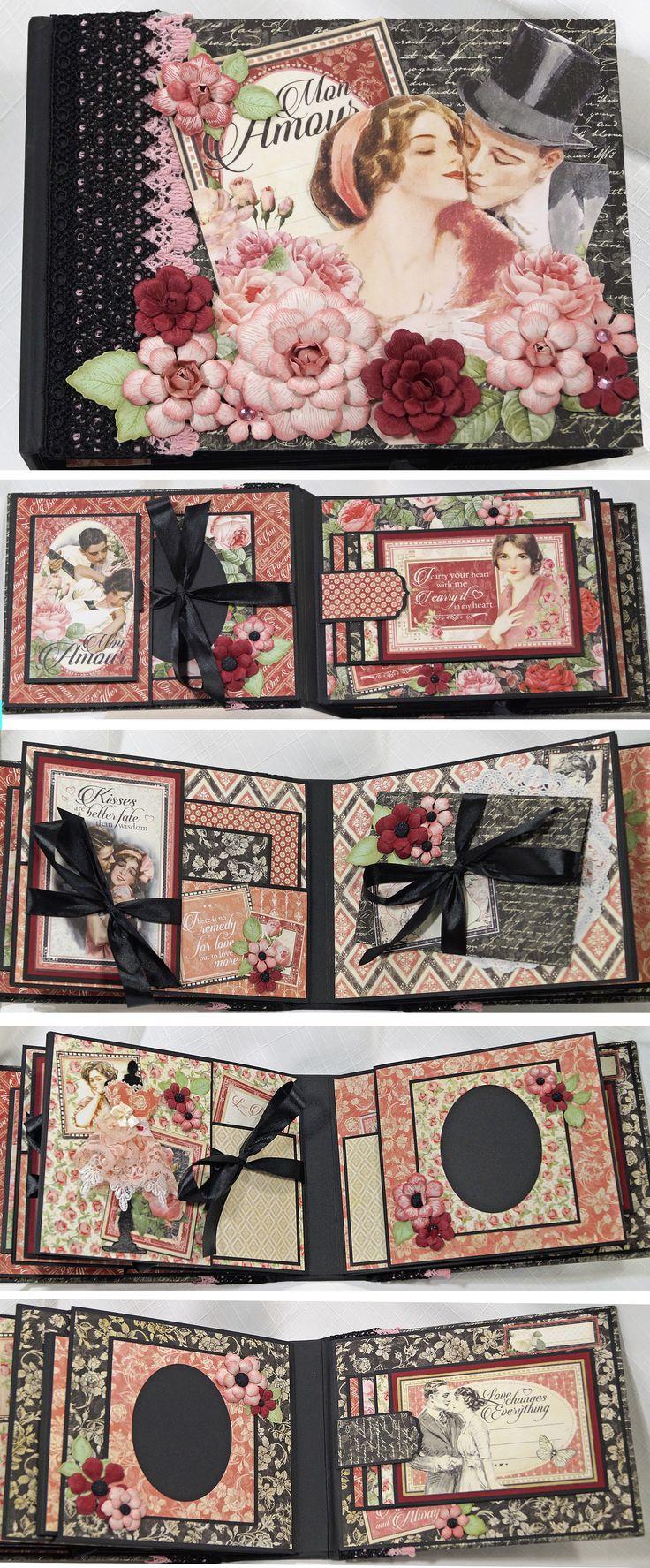 Graphic 45 Mon Amour scrapbook Mini Album http://www.ebay.com/itm/262089391021?ssPageName=STRK:MESELX:IT&_trksid=p3984.m1555.l2649