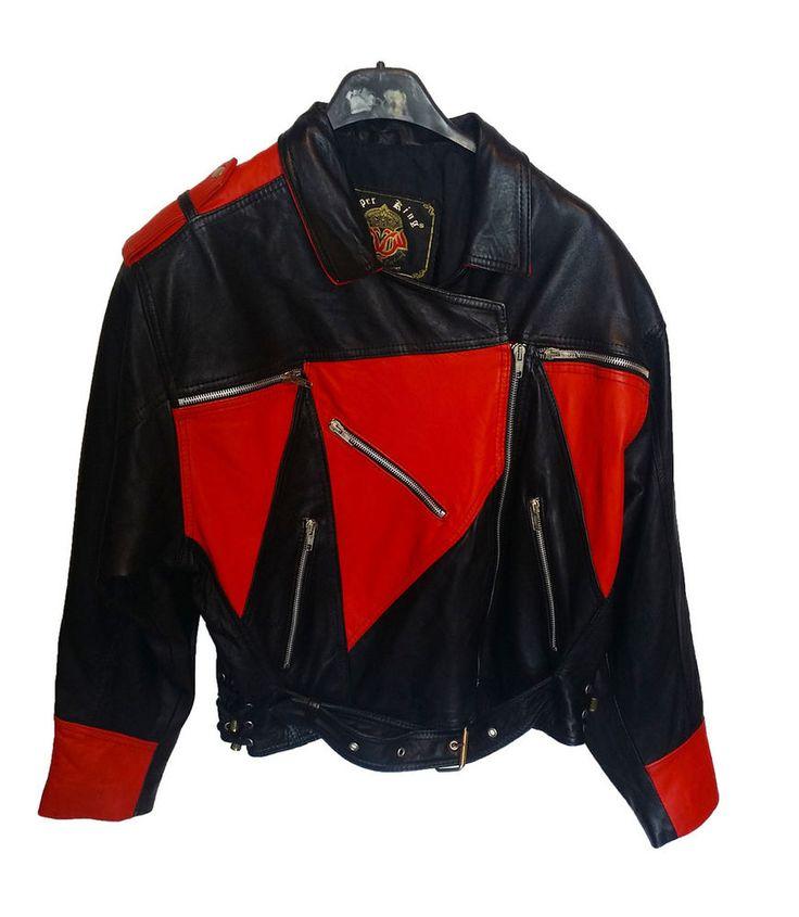 giubbino pelle rosso nero vintage taglia L jacket very leather black/red used
