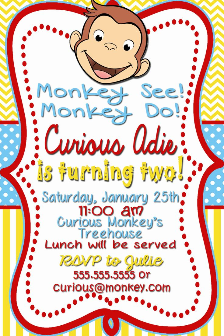 Curious George Birthday Invitations by MonkeyAroundDesigns on Etsy