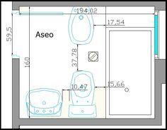 planos de baños pequeños - Buscar con Google                                                                                                                                                     Más