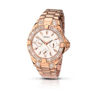 Seksy Ladies rose gold plated stone set bracelet watch made with Swarovski ®elements- at Debenhams.ie