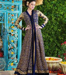 Buy Royal blue net and velvet embroidered semi stitiched salwar with dupatta party-wear-salwar-kameez online