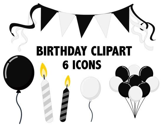 Black And White Birthday Clipart Party Balloons Banner Clip Art