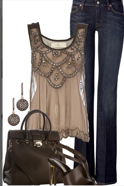 Here is an example of a top that could be worn with ballet flats.