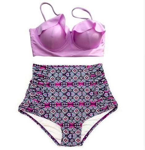 Purple High Waist Ruffle Top Swimwear - Plus Size Available