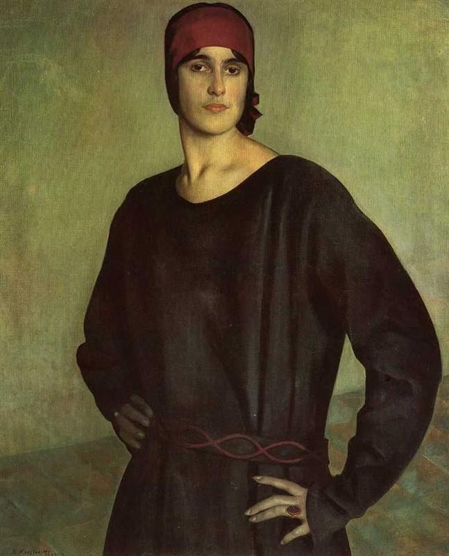 Portrait of the Artist Tatiana Chizhova - Boris Kustodiev, 1924