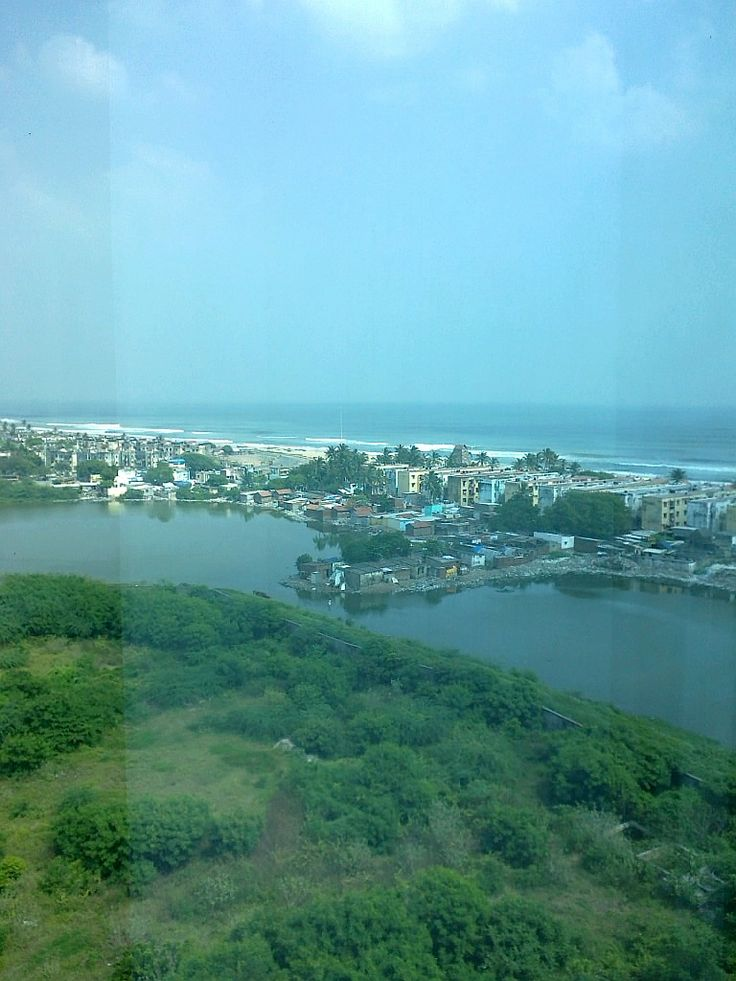 View from the Belicia Towers, Chennai on to the beach front - that's the Marina!