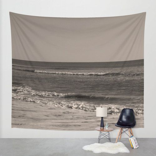 Sepia ocean tapestry, beach tapestry, photo tapestry black & white wall hanging, extra large wall decor, brown tapestry modern, dorm, boho