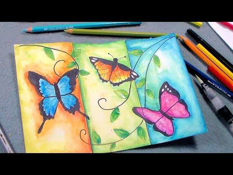 Butterfly Painting Tutorial with Pen & Ink and Caran D'Ache Watercolor P...