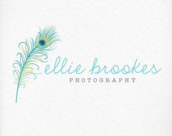 Peacock Feather Logo, Photography Watermark, Premade Design, Teal, Handwritten Font - For Photographers, Boutiques and Businesses